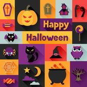 Happy halloween greeting card in flat design style. — Stock Vector