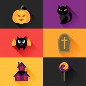 Happy halloween icon set in flat design style. — Vecteur