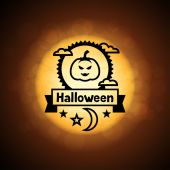 Happy halloween greeting card on background of moon. — Stock Vector