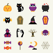 Happy halloween icon set in flat design style. — Stock Vector
