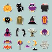 Happy halloween sticker set in flat design style. — Stock Vector
