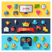 Horizontal banners with game icons in flat design style. — Stock Vector