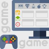 Background with game icons in flat design style. — Stockvektor