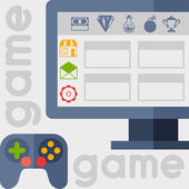 Background with game icons in flat design style. — Vettoriale Stock