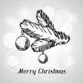 Merry Christmas hand drawn invitation card template. — Stock Vector