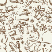 Frohe handgezeichnete weihnachten nahtlose muster design. — Stockvektor