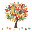 Stylized autumn tree with falling leaves for greeting card. — Stock Vector #52960023