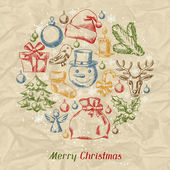 Merry Christmas hand drawn invitation card template. — 图库矢量图片