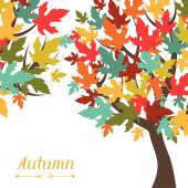 Background of stylized autumn trees for greeting card. — Stock Vector