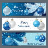 Holiday horizontal banners template with christmas balls. — Stock Vector