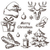 Set of Merry Christmas hand drawn icons and objects. — Stock vektor