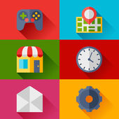 Set of game icons in flat design style. — Stock Vector