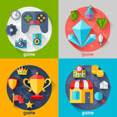 Background with game icons in flat design style. — Stock Vector