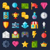 Set of game icons in flat design style. — Stock vektor