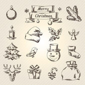 Set of Merry Christmas hand drawn icons and objects. — Vector de stock