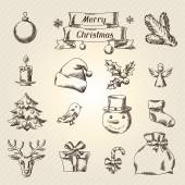 Set of Merry Christmas hand drawn icons and objects. — Stockvector