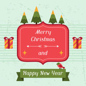 Merry Christmas and Happy New Year invitation card. — Vector de stock