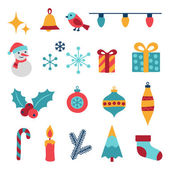 Set of Merry Christmas and Happy New Year icons. — Stock Vector