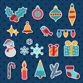 Set of Merry Christmas and Happy New Year icons. — Vector de stock