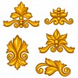 Set of baroque ornamental antique gold scrolls and vignettes. — Vecteur #53819167