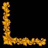 Barocke dekorative antik gold element auf schwarzem hintergrund. — Stockvektor