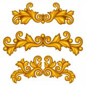 Set of baroque ornamental antique gold scrolls and vignettes. — Stock Vector