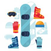 Snowboard equipment icons set in flat design style. — Stock Vector