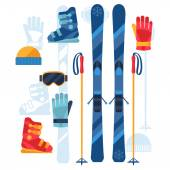 Skiing equipment icons set in flat design style. — Stock Vector