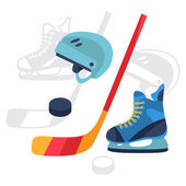 Hockey equipment icons set in flat design style. — Stock Vector