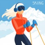 Girl skier on mountain winter landscape background. — Stock Vector #54218837