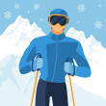 Man skier on mountain winter landscape background. — Stock Vector #54218871