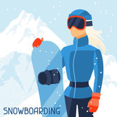 Girl snowboarder on mountain winter landscape background. — Stock Vector