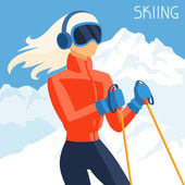 Girl skier on mountain winter landscape background. — Stock Vector