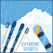 Extreme sports on background of mountain winter landscape. — Stock Vector