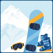 Snowboarding equipment on background of mountain landscape. — Stock Vector