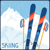 Skiing equipment on background of mountain winter landscape. — Stock Vector