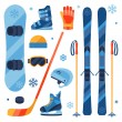 Winter sports equipment icons set in flat design style. — Stock Vector #54226067