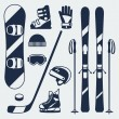 Winter sports equipment icons set in flat design style. — Stock Vector #54226075