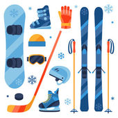 Winter sports equipment icons set in flat design style. — Stock Vector