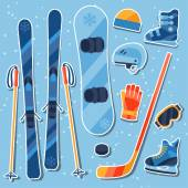 Winter sports equipment sticker icons set in flat design style. — Stock Vector