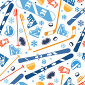 Winter sports seamless pattern with equipment flat icons. — Stockvektor