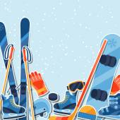 Winter sports background with equipment sticker flat icons. — Stock Vector