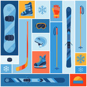 Winter sports background with equipment flat icons. — Stock Vector