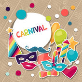 Celebration background with carnival stickers and objects. — 图库矢量图片