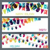 Holiday colorful horizontal banners with flags and garland. — Stock Vector