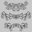 Set of baroque ornamental antique silver scrolls and vignettes. — Vettoriale Stock  #54723929