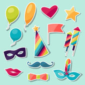 Celebration carnival set of sticker icons and objects. — Vector de stock
