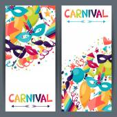 Celebration vertical banners with carnival icons and objects. — Stock Vector
