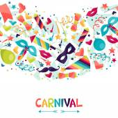 Celebration seamless pattern with carnival icons and objects. — Stock Vector