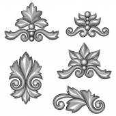 Set of baroque ornamental antique silver scrolls and vignettes. — Stock Vector